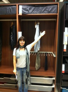 Nuria doing her best Vanna White impersonation while helping me shop.
