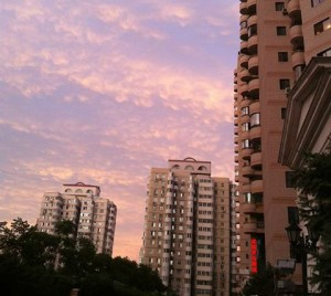 pink sunset in beijing