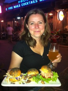 The sliders and a beer at The Big Smoke.  Jill's first night in Beijing.