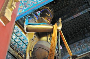 A close up of the 86 foot tall Buddha.