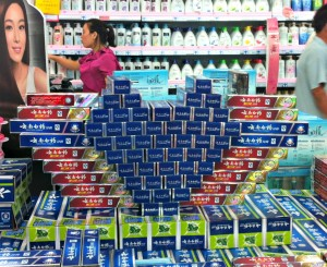 The always romantic Valentine's Heart made of toothpaste boxes.