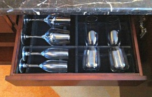 Wine and champagne glasses in the drawer.  Such a nice surprise!