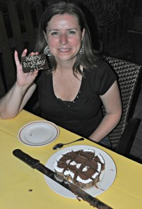 A 40th Birthday cake for Jill made my Mrs. Schindler.