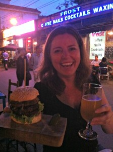 The Blue Cheese and Mushroom Burger from The Big Smoke and a Flying Fist Jing A beer.