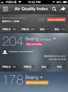 """Very Unhealthy"" at the Embassy.  ""Heavily Polluted"" closer to me."