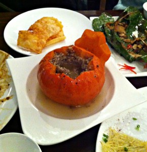 Minced pork and truffles in a pumpkin and other dishes.