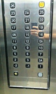 "Notice a lack of ""4"" on the elevator.  And 13."