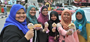 I love the different colors of hijabs and ice cream.