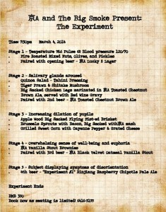 The Experiment's menu.