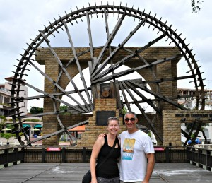 Jill and me at the Sultanate's Water Wheel in Malaysia.