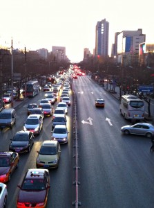 Traffic coming into Beijing on a Friday night.
