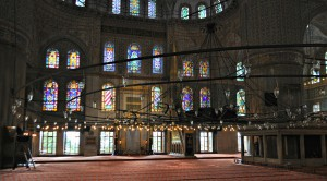 The prayer area of the Blue Mosque.