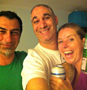 Andac, Jill and me sharing a few beers at 2:30 AM after arriving at his apartment.