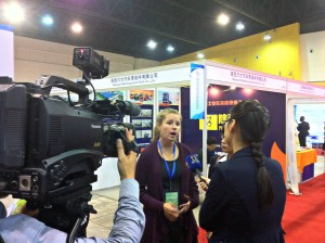 Jill getting interviewed for Shaanxi television!