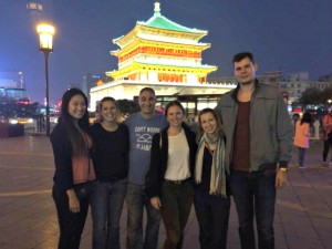 Annie, Jill, me, Eleni, Alena and Phil in front of the Xian Drum Tower.