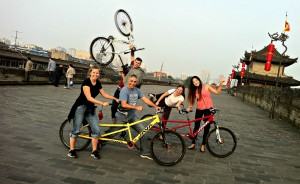 The gang with our bikes.  From left: Jill, Phil, me, Eleni and Annie.