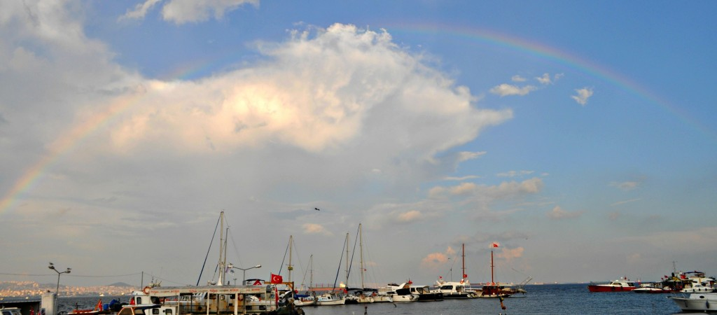 A shot of the rainbow over the port.