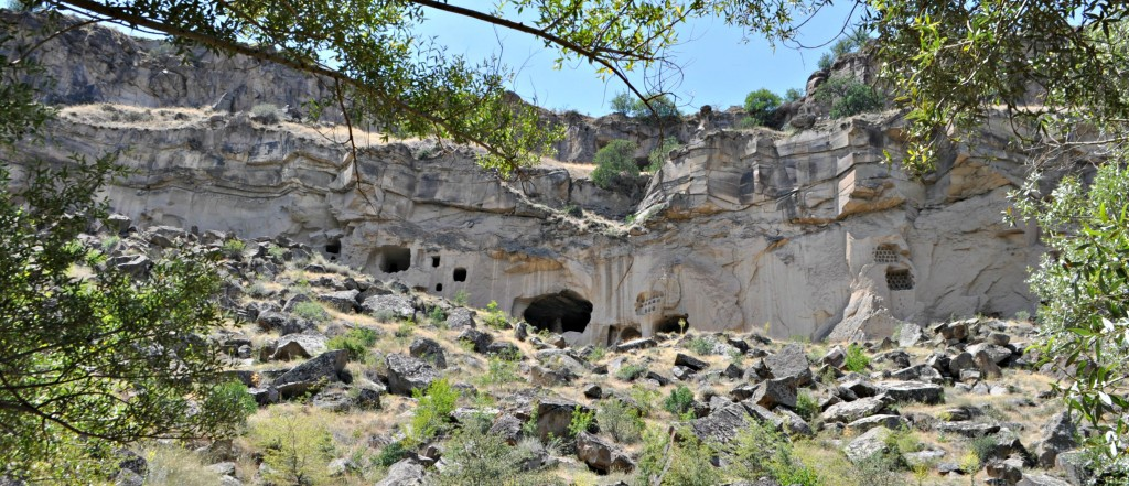 A large cave with cliff wall dwellings.