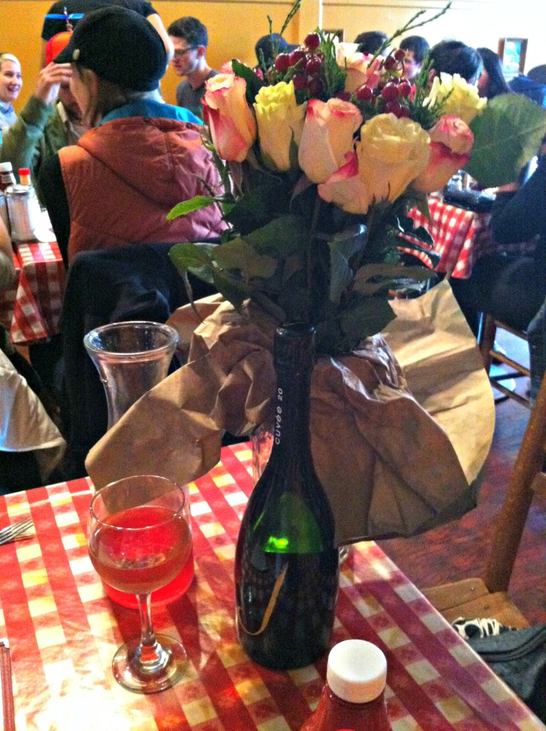 The wonderful flowers and J sparkling wine.  We also ordered pomegranate mimosas.
