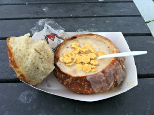 Delicious Clam Chowder served in a sourdough bread bowl!