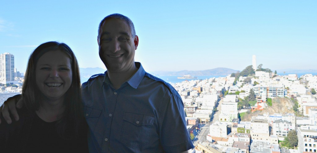 Jill and me on the 17th floor looking out over Coit Tower and Alcatraz in the backgroud.