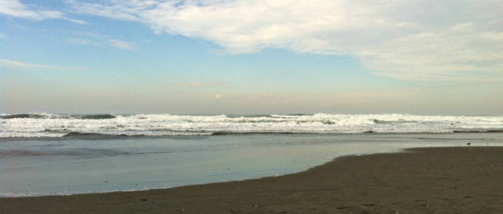 A view from Ocean Beach towards the Farallon Islands.