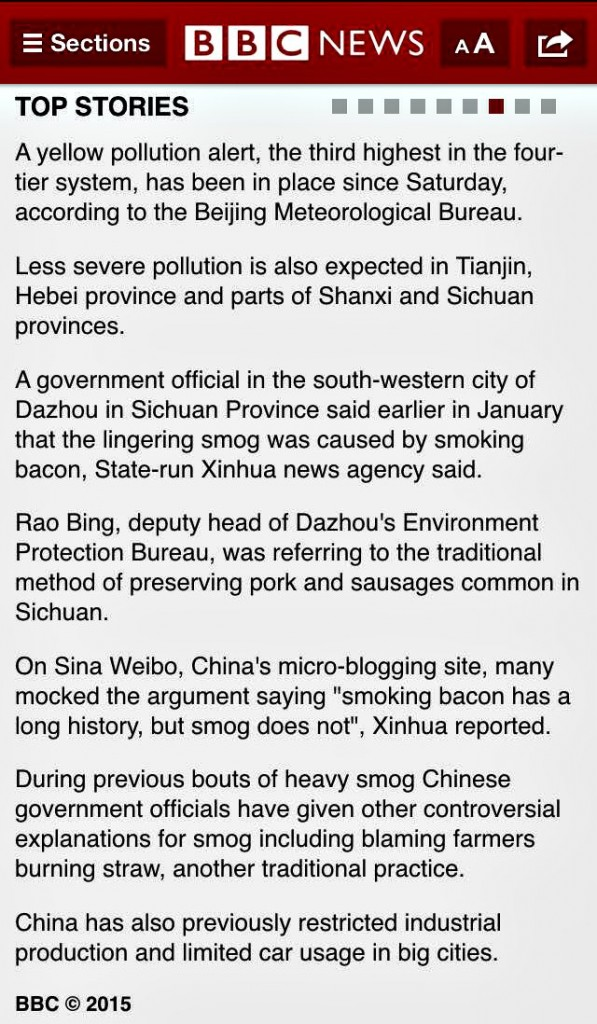 Smoking bacon is the cause of pollution in China.