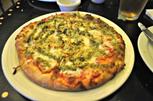 Jill's pesto pizza.  Yummy!
