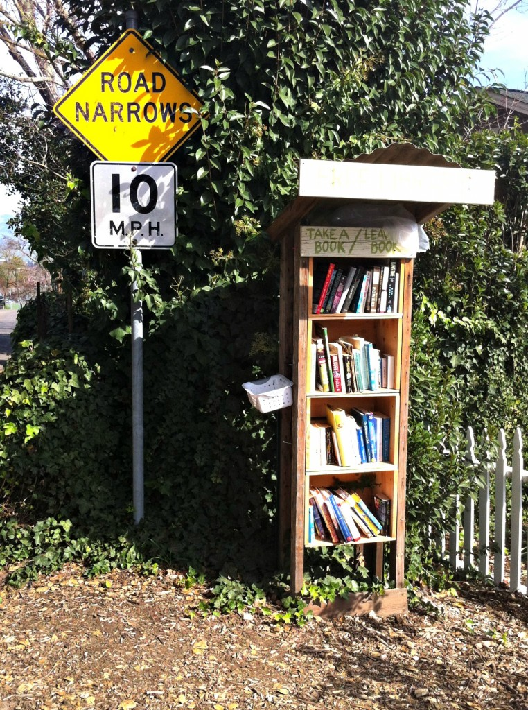 Take a book/Leave a book.  A wonderful little free library.