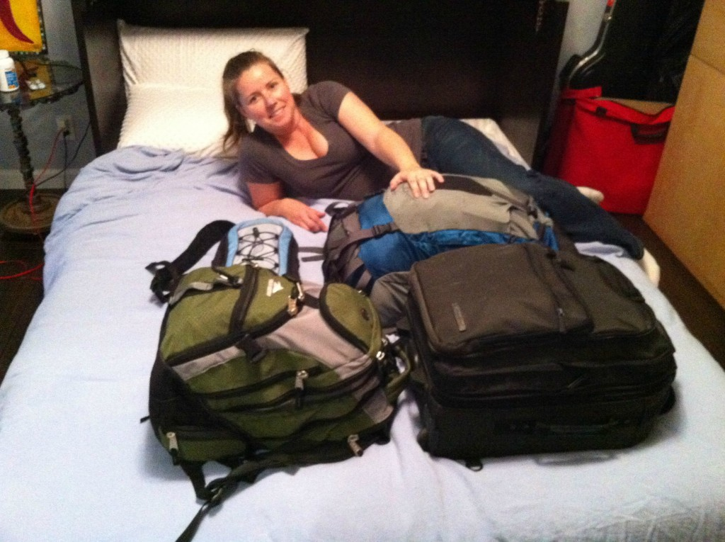 Jill beside our luggage to show perspective.